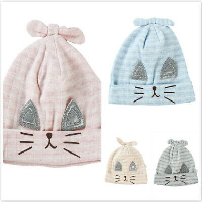 Cotton Newborn Baby Solid Striped Hat Rabbit Ears Baby Beanie Hat For Infant N7