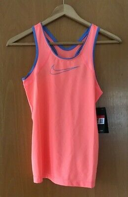 NIKE Girls PRO tank top SIZE L 12-13 yrs coral BLUE bnwt