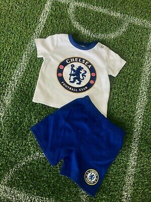 Chelsea FC Official Football Club Kit T-Shirt & shorts Gift Baby children CH925