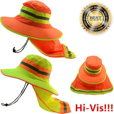 Hi Vis Reflective Safety Working Breathable Bucket Cap Neck Flap Boonie Hats Lot