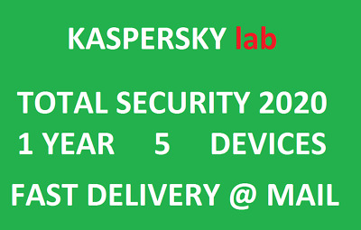 Kaspersky Total Security 2020 5 Devices/1 Year|Worldwide|Delivery via message.