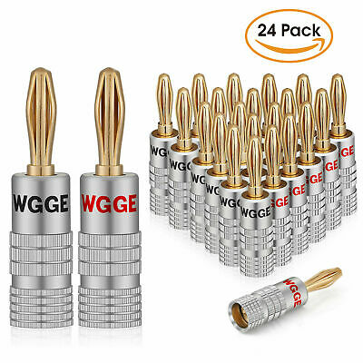 WGGE WG-009 Banana Plugs Audio Jack, 24k Gold Dual Screw Lock Speaker (12 Pairs)