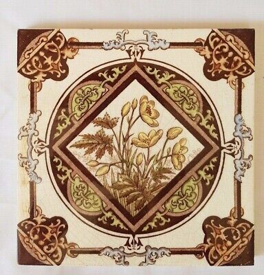 Stunning Antique Floral  Arts & Crafts Design 6 Inch Tile.  8 Available. E & M.c