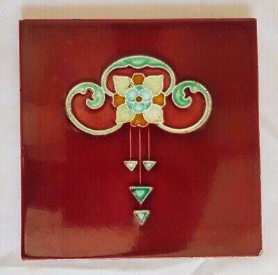 Gorgeous Antique Floral Art Nouveau Design 6 Inch Red Tile.  8 Available