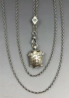 """Antique Victorian 50"""" Long Silver Slide Necklace Fob Turtle with Compass Pendant"""