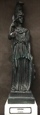 Goddess Of Wisdom Athena Minerva Metal Statue Figure On Marble Slab 11 In Repro