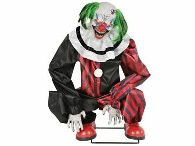 Animated Red Black Crouching Clown Evil Halloween Haunted House Prop Creepy New
