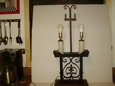 HUGE  ANTIQUE-vint.SPANISH REVIVAL GOTHIC  IRON & HAMMERED METAL LIGHT LAMP 1626