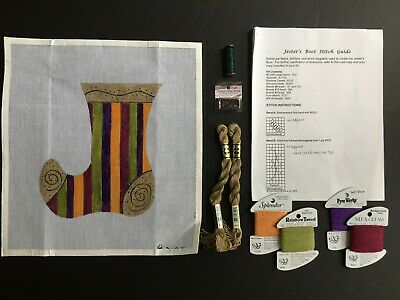 Hand-painted Needlepoint Canvas Bright & Colorful Jester's Boot/SG/Threads/Beads