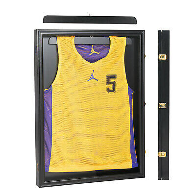 Lockable Jersey Display Cases Wall Frames Shadow Box Black Football Basketball