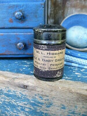 Sm Early Antique Primitive Tin Sugar Shaker Muffineer Brown Calico Free Shipping