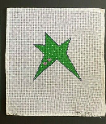 DeElda Hand-painted Needlepoint Canvas Bright Green Star with Pink Hearts