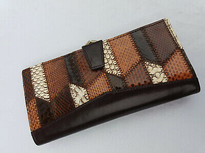 Women's Vintage Patchwork Leather and Snakeskin Bifold Snap Clasp Purse