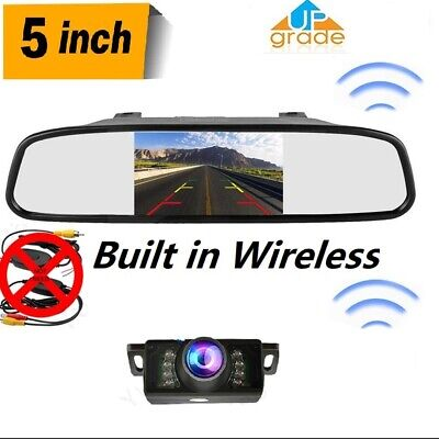 5'' LCD Car Rear View Monitor Built-in Wireless Kit Reverse Night Vision Camera