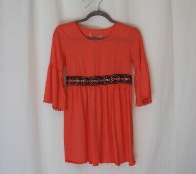 Red Camel Girls kids size 12 Coral pullover Tie Back dress boat neck long sleeve