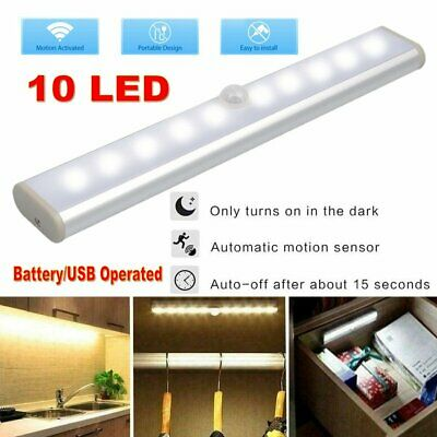 Battery/USB Operated Wireless PIR Motion Sensor 10LED Night Light Cabinet Closet