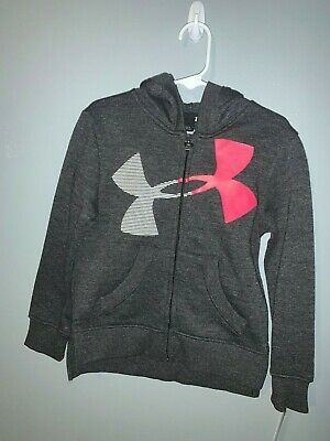 Under Armour - Little Girls - Zippered Hoodie - Grey with Neon & Sparkle Sz 4