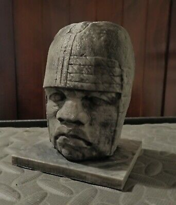 Large Olmec Head Smithsonian Scan 3D print hand painted home art antique decor