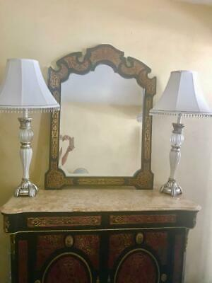 French Napoleon Iii Style  Brass Inlaid Ebonised Boulle Mirror