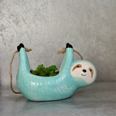 Glossy Turquoise Hanging Sloth Ceramic Pot Planter Indoor Outdoor Garden Home...