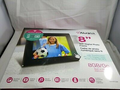 "Aluratek AWDMPF208F 8"" Hi-Res WIFI Digital Photo Frame Touchscreen IPS LCD 627"