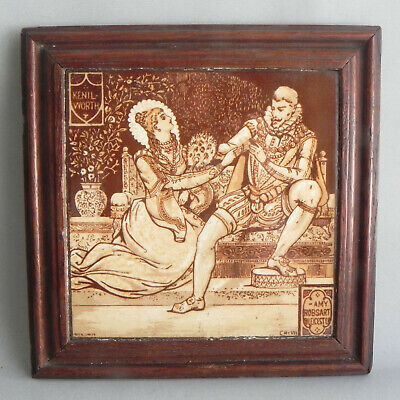 Minton John Moyr Smith Framed Tile Waverley Kenilworth Amy Robsart & Leicester