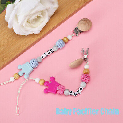 Infant Wooden Dummy Clip Silicone Beads  Soother Holder Baby Pacifier Chain
