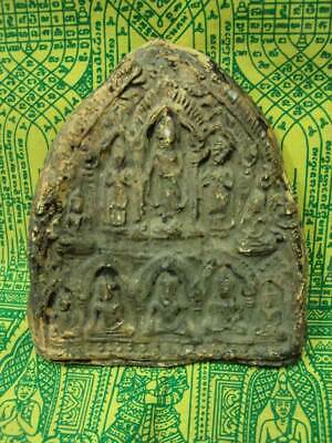 Khmer Ancient 10 Buddha Figure Angkor 800 Years Old Talisman Thai Amulet Rare
