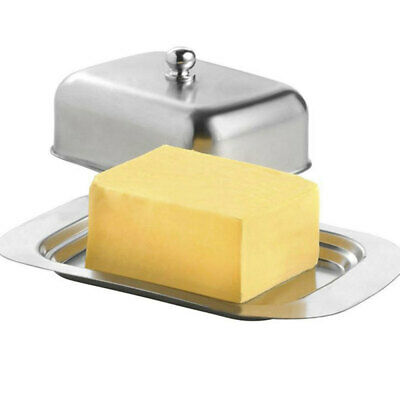 Stainless Steel Butter Cheese Dish Serving Tray Storage Container with New XTE