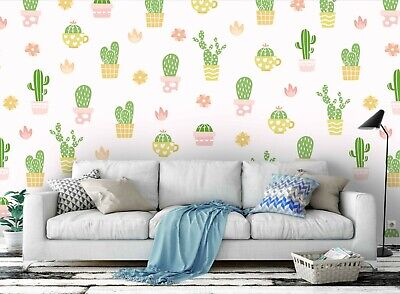 3D Cute Cactus Pattern Self-adhesive Removable Wallpaper Feature Wall Mural 193
