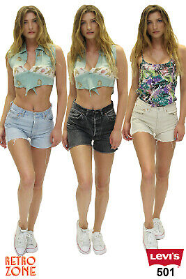 Levis 501 Womens Vintage High Waisted Hotpants Denim Shorts Grade A 6 to 16