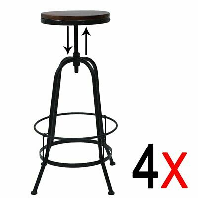 4 Vintage Bar Stool Metal Wooden Industrial Retro Seat Kitchen Adjustable Height
