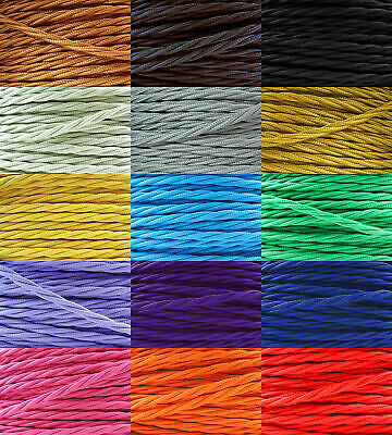 Twisted Silk Braided Vintage Fabric Colour Lighting Cable Flex 2 core 0.75mm UK