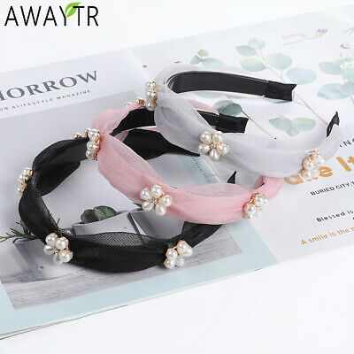 Korea pearl Lace Floral Headband Mesh Knotted Hair Bands Hoop Hairband Crown