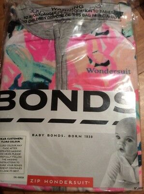 Baby Bonds Zip Wondersuit Brand New In Pack Size 000 Girl Multicolour 0-3 Months