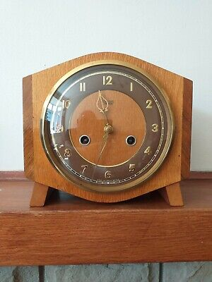 Antique Smiths and Enfield Mantel clock In Light And Dark Mahogany in Excellent
