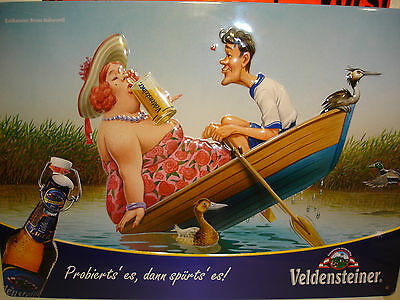 """VELDENSTEINER  """" fat woman in the boat """"   BREWERY BEER CARICATURE  METAL SIGN"""