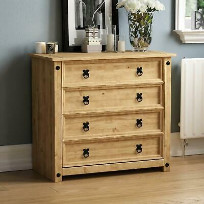 Corona 4 Drawer Chest Rustic Distressed Waxed Pine Bedroom Storage Furniture