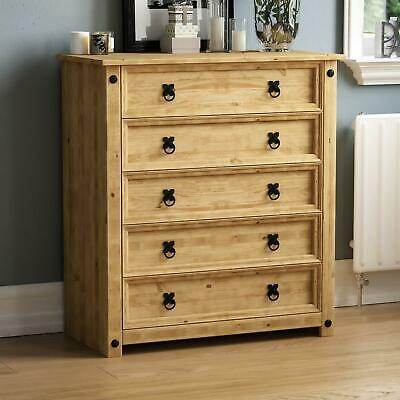 Corona 5 Drawer Chest Rustic Distressed Waxed Pine Bedroom Storage Furniture