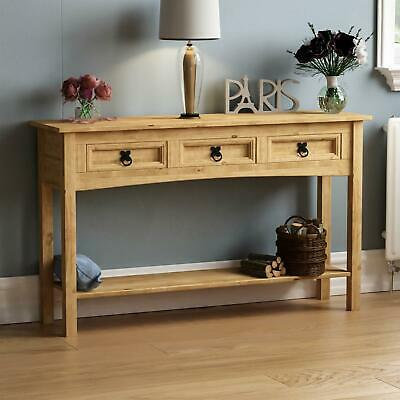 Corona 3 Drawer Console Table With Shelf Mexican Solid Waxed Pine End Hallway