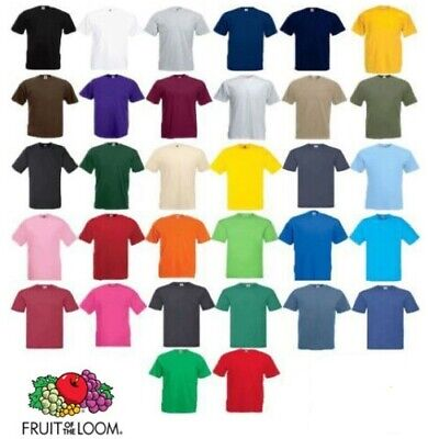 Fruit of the Loom 100% Cotton Plain Blank Men's Women T-Shirts Value Weight Lot