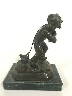 Classic French Bronze Putti Sculpture France Signed MEDNAT on green marble Base
