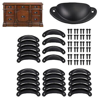 24x Cup Pull Cabinet Handle Door Draw Pull Rustic Self Cast Iron Antique Black