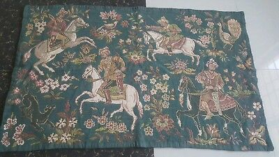"""Antique 19c Aubusson French wov Tapestry Beautiful Color  size 35""""×56(cm89x142)"""