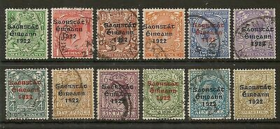 Ireland 1922-23 Saorstat 3 Line Ovpt Set To 1/- Sg52/63 Used