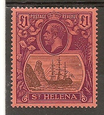 St Helena 1922-37 Kgv £1 Grey And Purple Red Sg96 Fresh Mint Rich Vibrant Colour