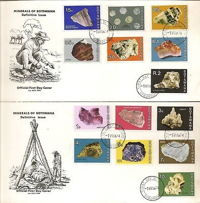 Botswana 1974  Minerals To 2R Sg322/35 On (2) Illus First Day Covers