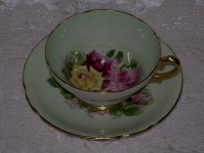 Stanley Teacup & Saucer Set Mint Green Gold Gild Pink Yellow Red  Rose Pattern