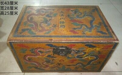 Chinese old antique copper gilt phoenix coronet with dragon wood box statue