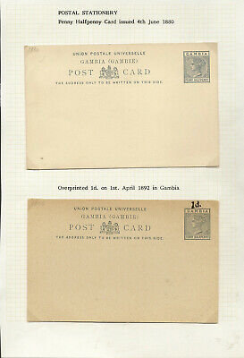 Gambia Postal Cards & Reply Cards (16) Qv/Kgv Inc Reduced Rate And Specimen